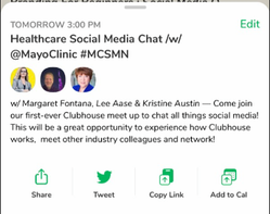 Join our first #MCSMN Clubhouse Chat